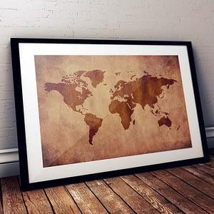 Wereldkaart poster en canvas print - Industriële wanddecoratie