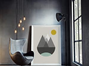 Abstracte Retro Berglandschap Poster - Noordse Wanddecoratie
