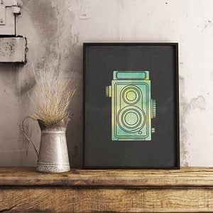Vintage Camera Poster - industriële wanddecoratie