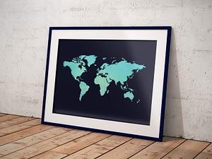 Wereldkaart Watercolor Blauw
