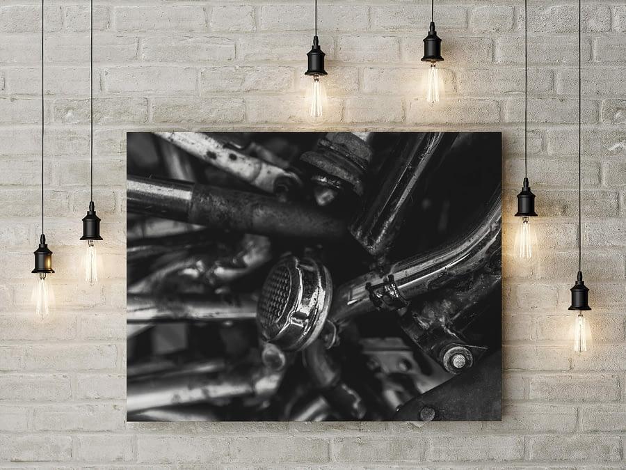 Zwart-wit vintage fietsbel poster