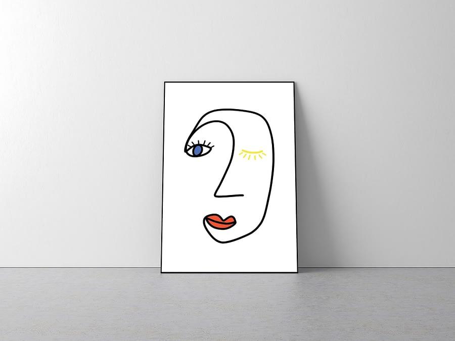 abstracte lijntekening met gezicht in primaire kleuren