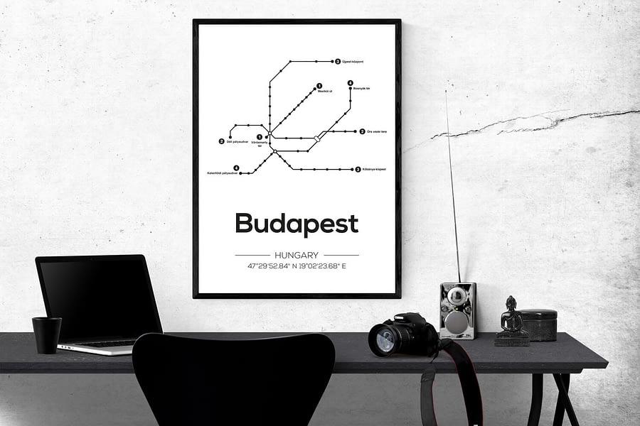 Boedapest Metro Poster - Koop Scandinavische wanddecoratie online