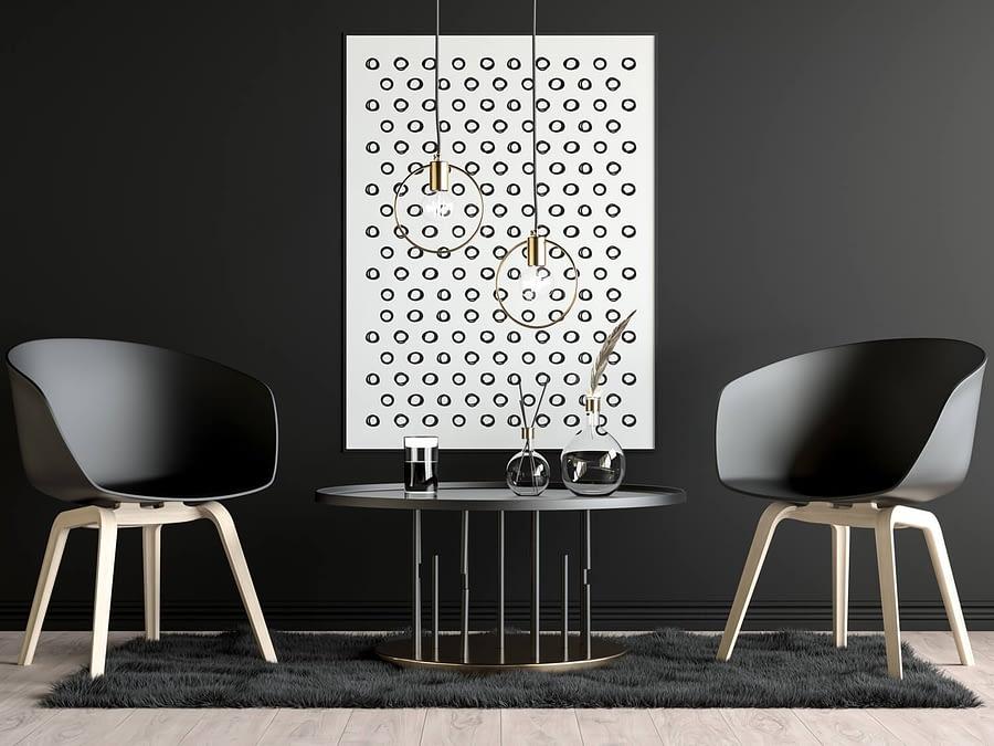 Zwarte cirkels patroon Scandinavische muurdecoratie