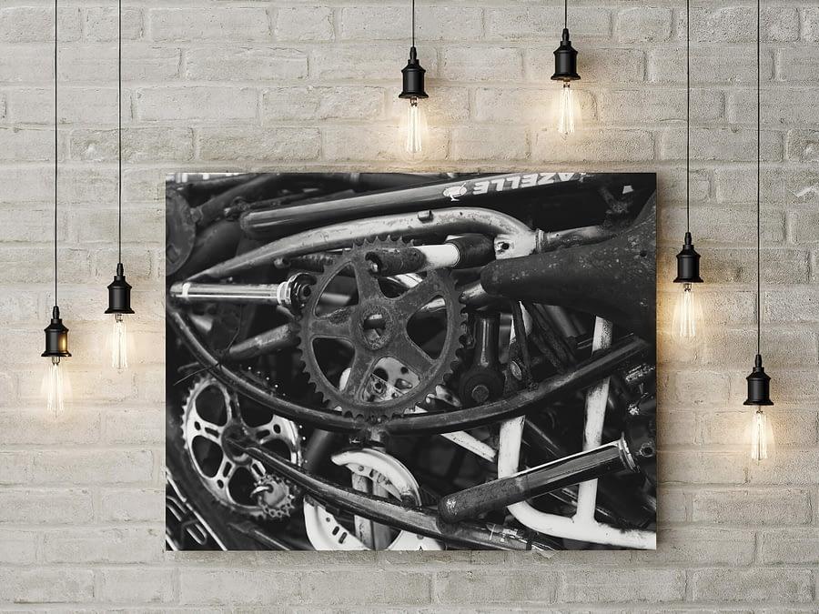 Bike Deconstructed - industriële zwart-wit poster