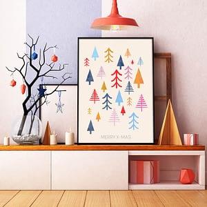 Scandinavische Muurdecoratie Colorful Trees kerst poster en print