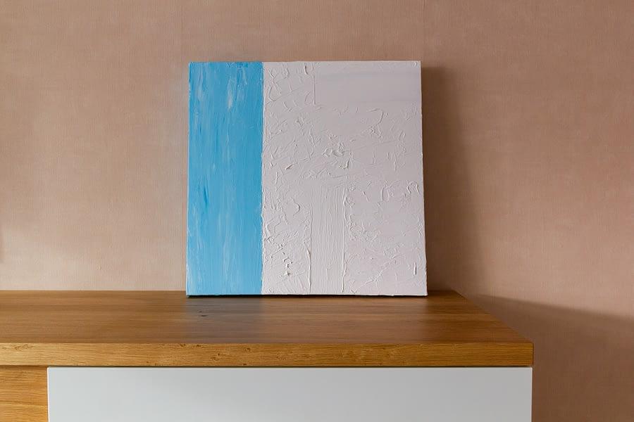 Wit en blauw abstract schilderij