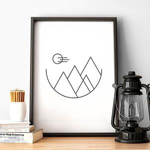 Minimalist Mountains - Scandinavische Poster en Print