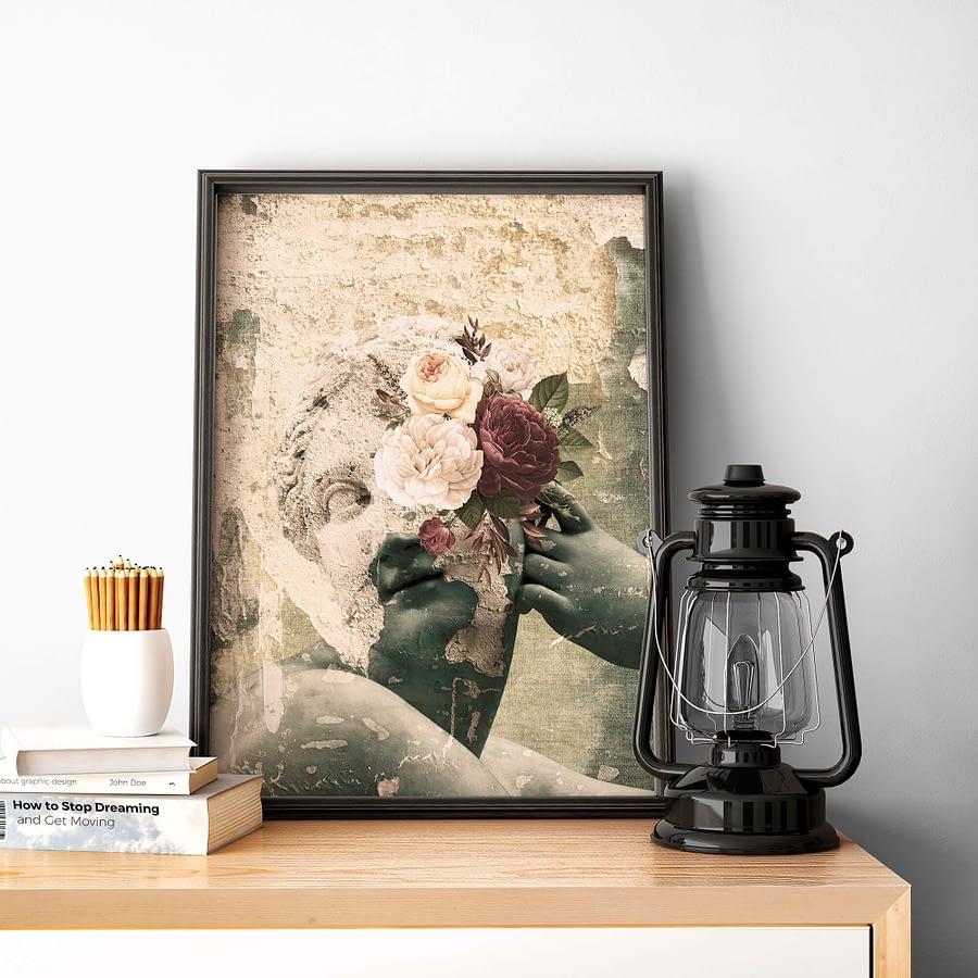 Surrealistische wanddecoratie met vintage look