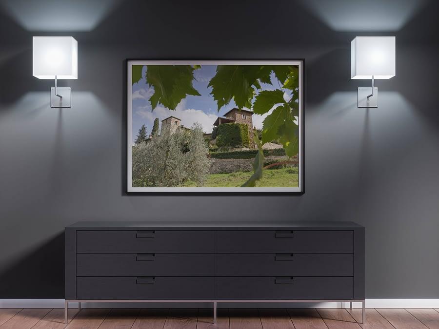 Toscaans Dorp Wijngaard Poster - Wanddecoratie