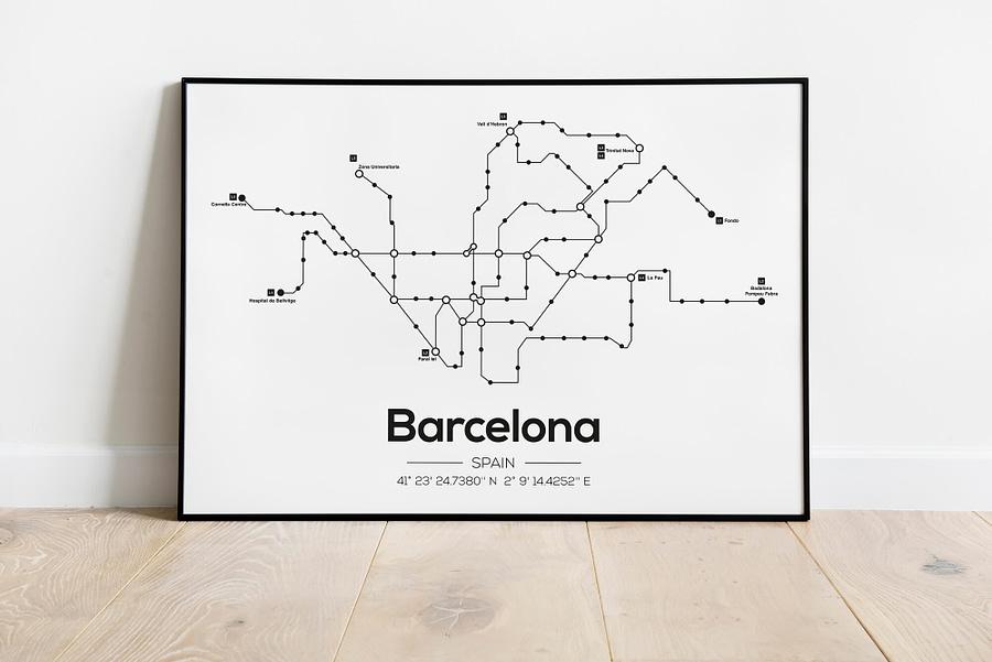 Barcelona Metrolijnen Poster - Scandinavische Posters Kopen