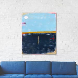 Abstract Blauw en Okergeel Schilderij
