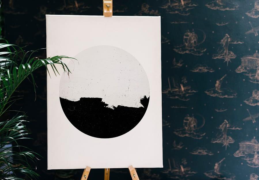Minimalistische zwart-wit poster met cirkel in Scandinavische stijl