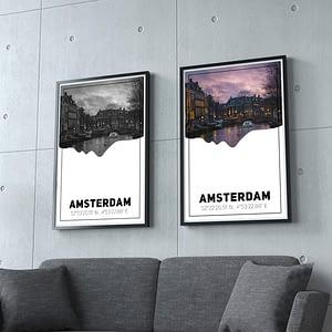 Amsterdamse Grachten Silhouette Poster