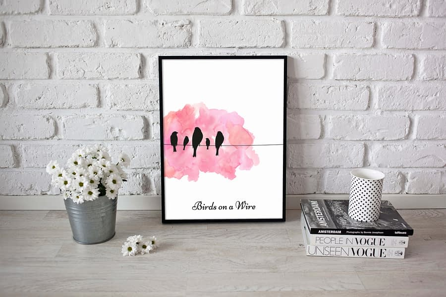 Birds on Wire Poster (Roze)