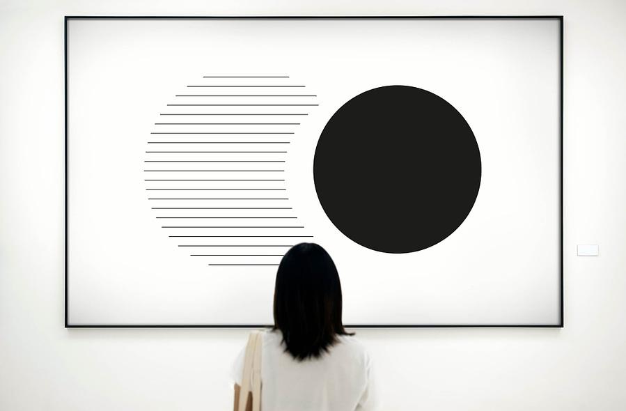 Abstracte zwarte cirkels - abstracte geometrische poster