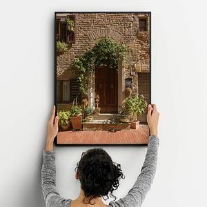 Toscaanse Deur Met Bloemen - Architectuur Wanddecoratie