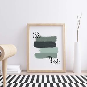 Green Brush Strokes - Abstracte Poster en Print
