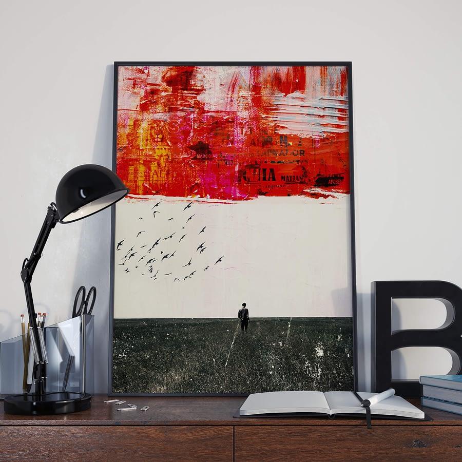 A Walk in a field - Surrealistische Collage Poster en Print