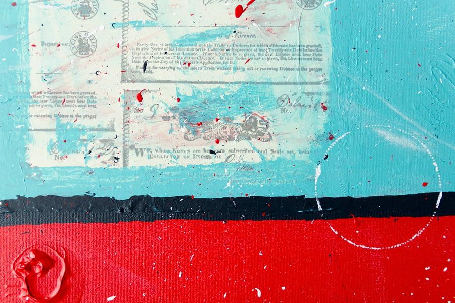 Mixed Media Abstract Schilderij - details