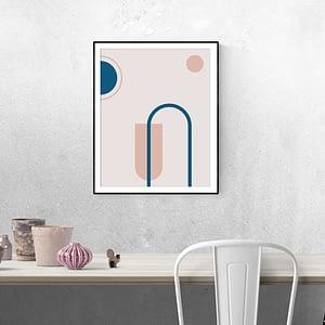 Roze Geometrie Poster - Pink Geometry