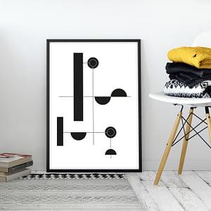 Zwart Wit Poster - Geometrische Wanddecoratie