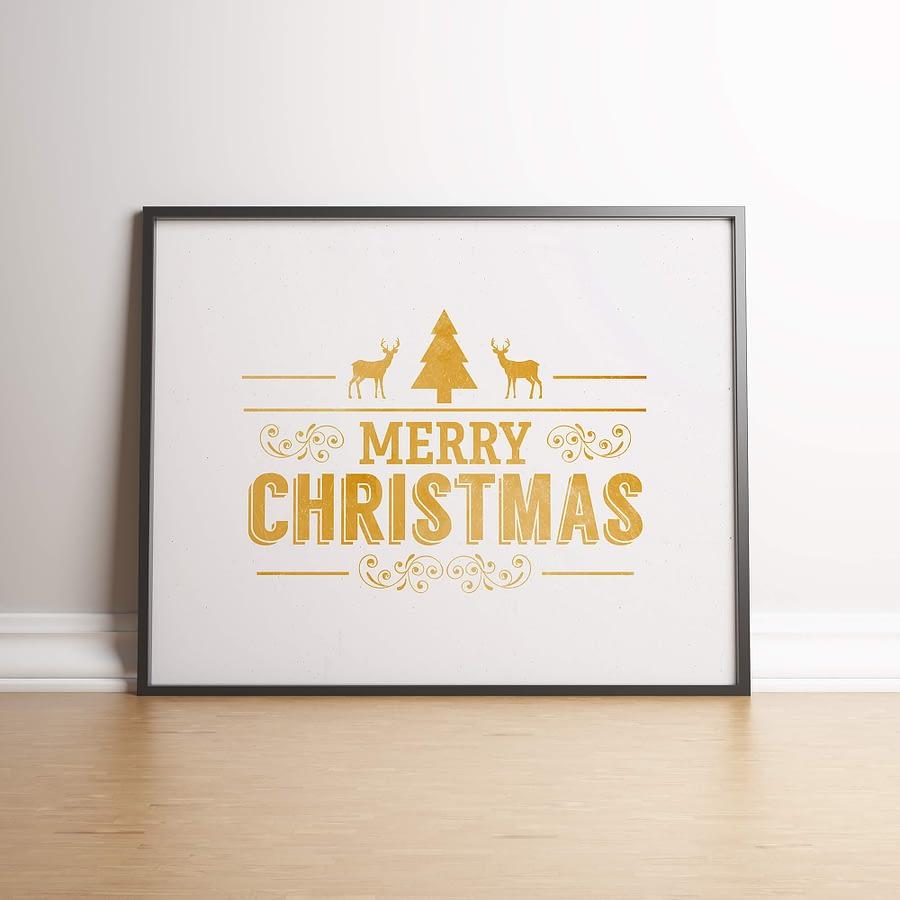 Industriele kerst poster in goud