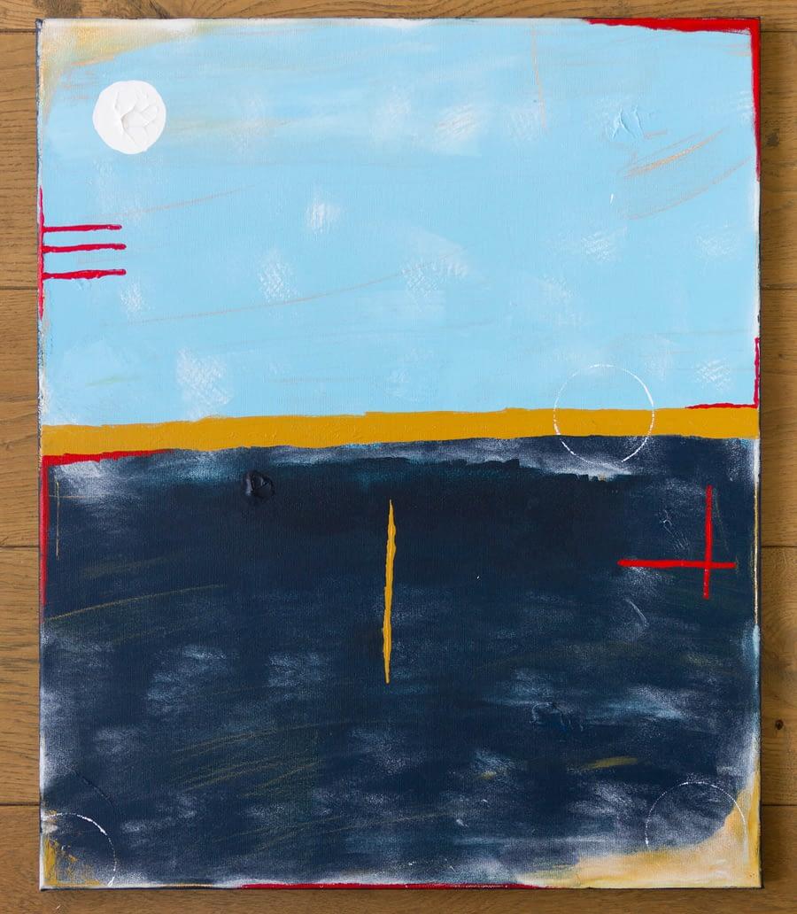 Abstract Blauw en Okergeel Schilderij 40 x 50 cm