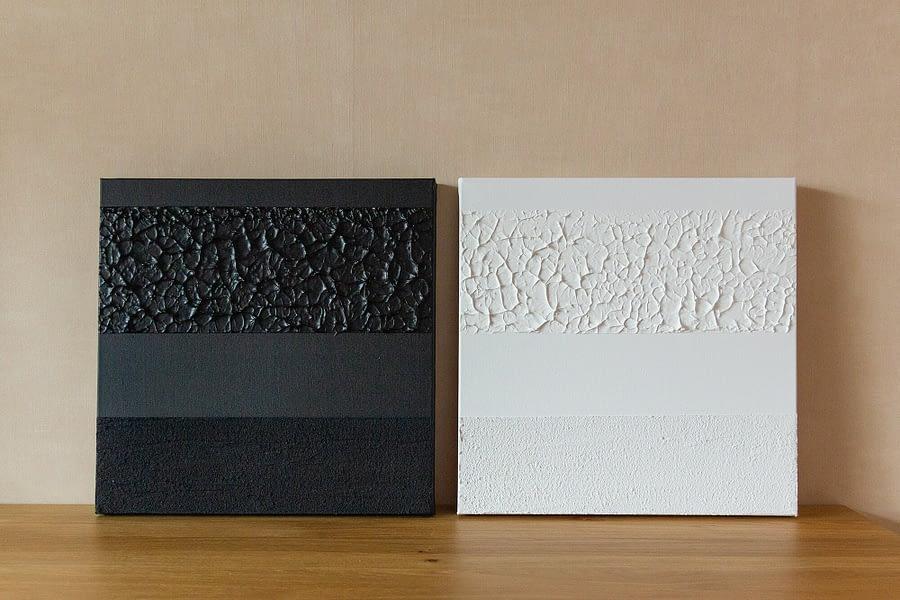 Zwart-Wit Tweeluik abstracte schilderijen
