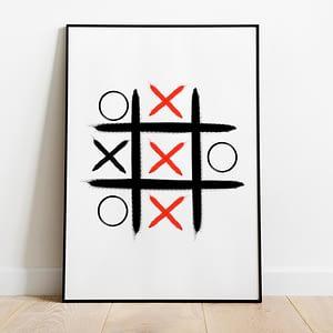 abstracte moderne print Boter Kaas En Eieren Rood Poster - Abstracte Wanddecoratie