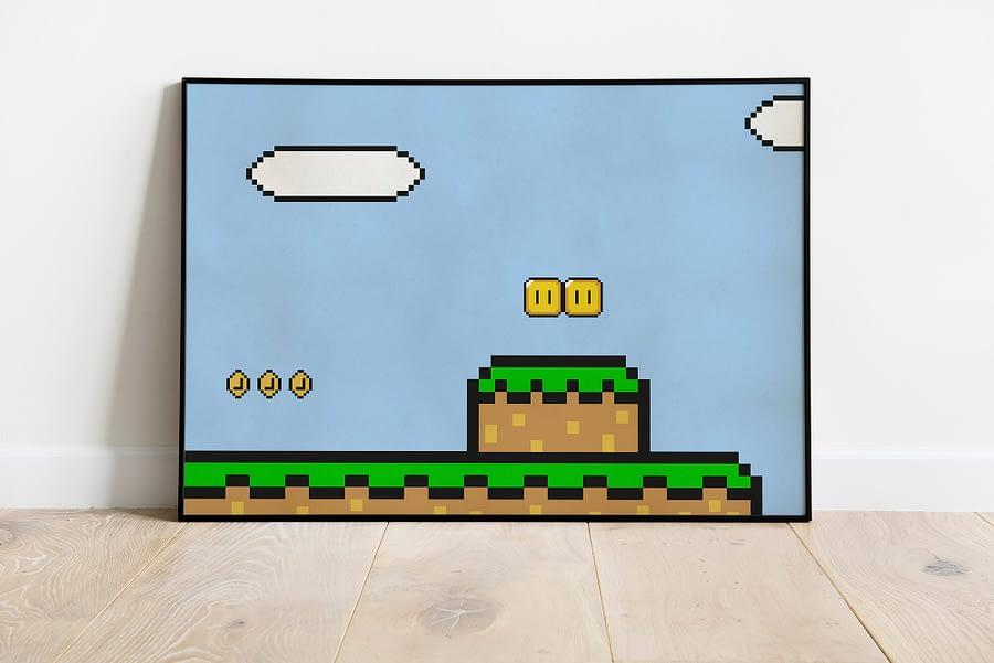 Nintendo Mario wereld - retro games poster en print
