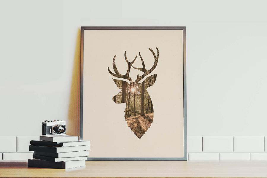 Hert en bos Scandinavische wanddecoratie