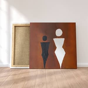 Black and White Figures Abstract Schilderij, Moderne Kunst