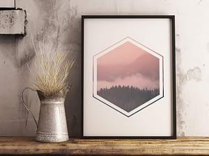 Landschap Hexagon Poster
