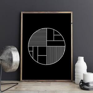 Zwarte Scandinavische geometrische cirkel poster