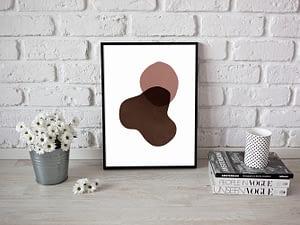 abstracte vormen met warme kleuren poster - Scandinavische Wanddecoratie
