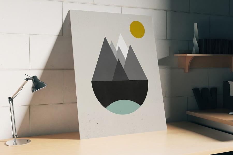 Abstracte Retro Berglandschap Poster