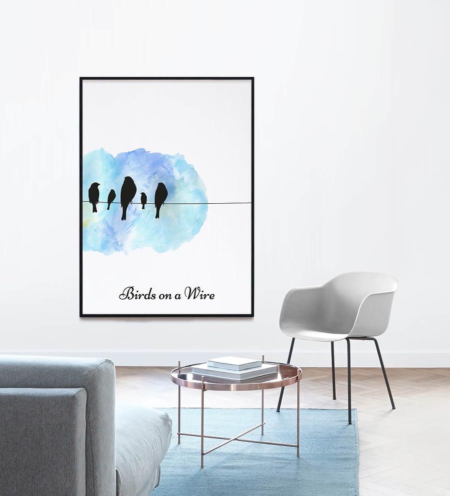 Birds on Wire Poster (Blauw)