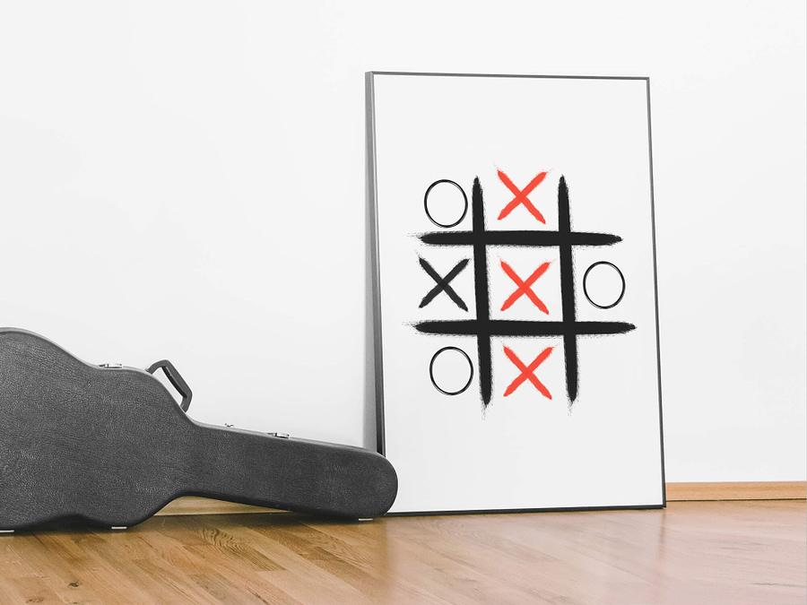 Kruis Nullen rood zwart abstracte poster