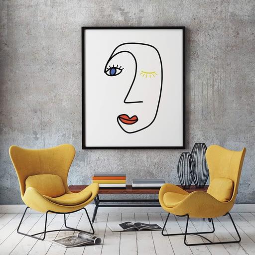 Abstract Gezicht in primaire kleuren - Abstracte Wanddecoratie